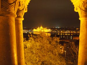 Hungarian Parliament Building, as seen from Fisherman's Bastion on the Buda side of the Danube.